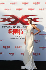 Deepika Padukone was a vision in a flowing white halter gown by Ralph Lauren at the 'xXx: Return of Xander Cage' press conference.