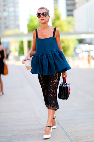 Ruffles And Lace Best Street Style From New York Fashion