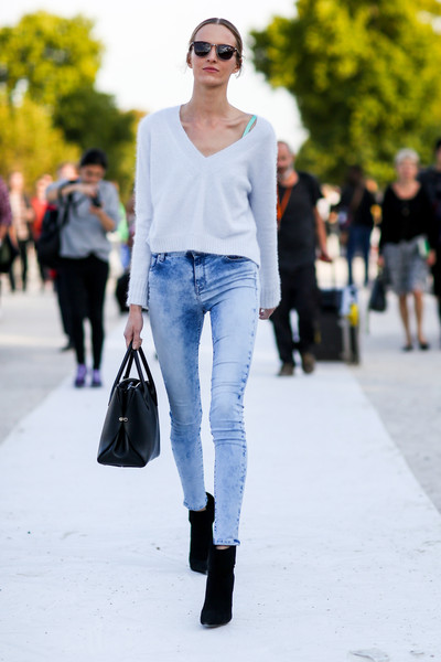 Cropped Sweater Best Street Style From Paris Fashion Week Spring 2015 Stylebistro