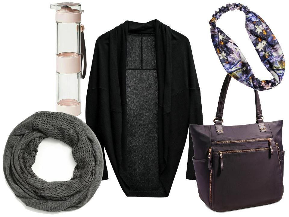 Clockwise: Calia by Carrie UnderwoodInfusion Water Bottle, $30; Effortless Cocoon Sweater in Caviar, $79; Printed Knit Headband in Print Classical-Floral, $15; Mixed Open-Knit Scarf in Castlerock, $35, atDick's Sporting Goods