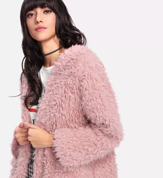 Pink Open Front Hooded Coat