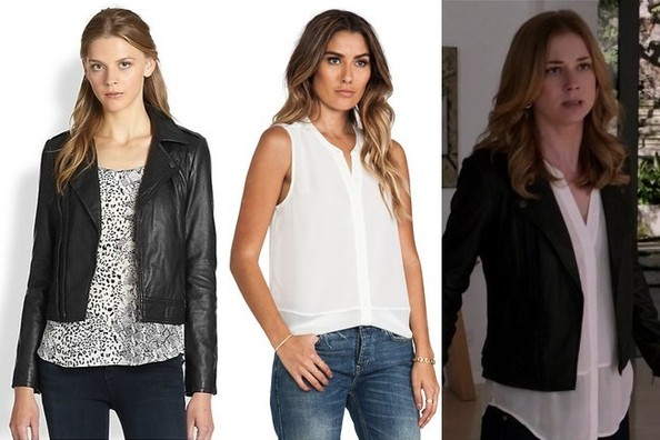 Emily VanCamp's Black Leather Jacket and White Sleeveless Blouse on 'Revenge'