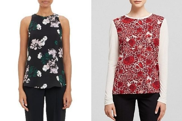 A.L.C. Floral-Print Anise Tank Blouse, $275, at Barney's; Tory Burch Roanan Tee, $225, at mellyonline.com