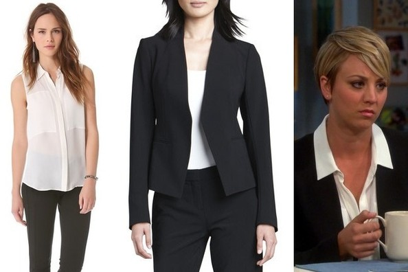 Kaley Cuoco-Sweeting's White Sleeveless Button-Down and Black Blazer on 'The Big Bang Theory'