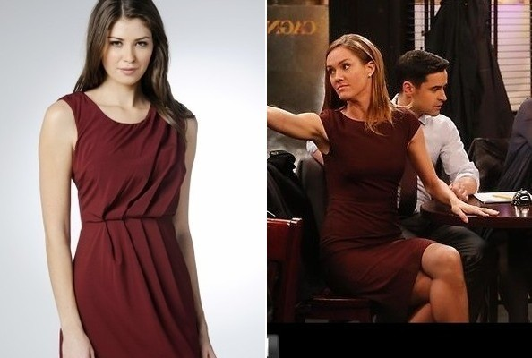 A Burgundy Shift Dress Like Erinn Hayes' on 'Guys With Kids'