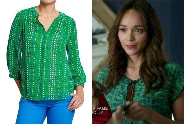 Ashley Madekwe's Green Blouse on 'Revenge'