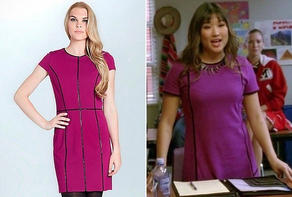 Jenna Ushkowitz's Piped Purple Dress
