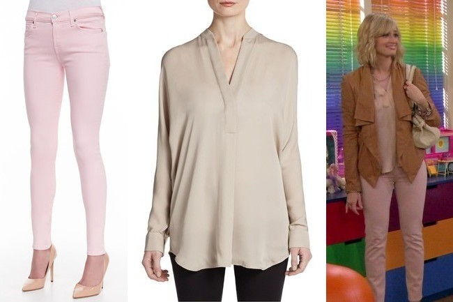 Beth Behrs Pastel Pink Skinny Jeans And Beige Blouse On