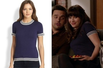 Zooey Deschanel's Navy Blouse on 'New Girl'