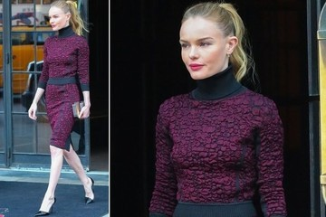 Kate Bosworth's High-Necked, Burgundy Dress