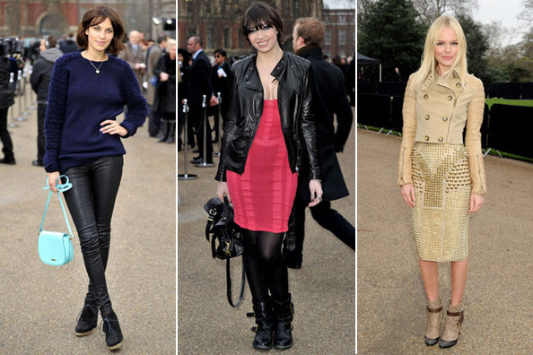 Celebs Toughen up in Leather and Spikes at Burberry