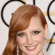 Jessica Chastain's Side-Swept Waves and Golden Shadow