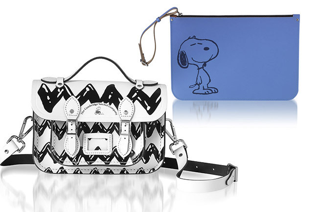 The Cambridge Satchel Company Peanuts Mini Satchel, $235; Peanuts Large Zip Pouch, $145