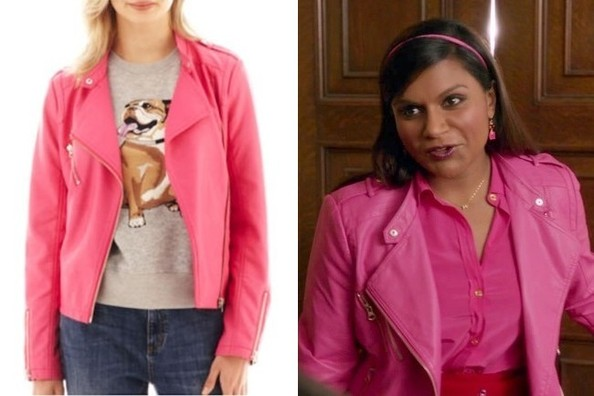 Mindy Kaling&39s Pink Moto Jacket on &39The Mindy Project&39 - TV