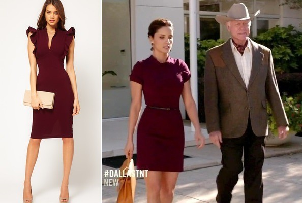 Leonor Varela's Burgundy Dress on 'Dallas'