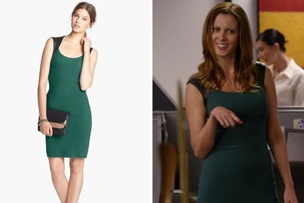 Eva Amurri's Green Dress with Faux Leather Sleeves on 'New Girl'