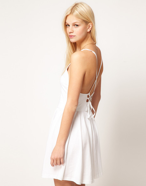 Little White Dress with a Corseted Back