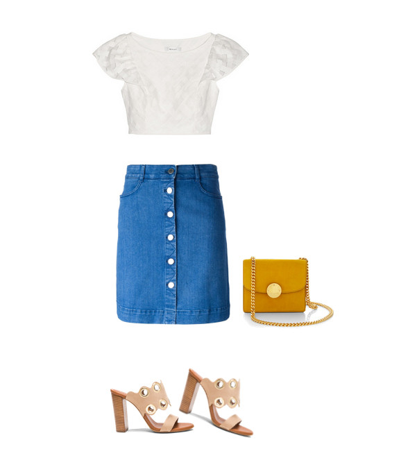 Stella McCartney Denim Skirt, $565, at farfetch.com; MillyCropped Embroidered Mesh Top, $295, at net-a-porter.com; Chloe Leather Scalloped Heels, $645, fwrd.com; Marc Jacobs Mini Suede Trouble Bag, $1,300, at modaoperandi.com