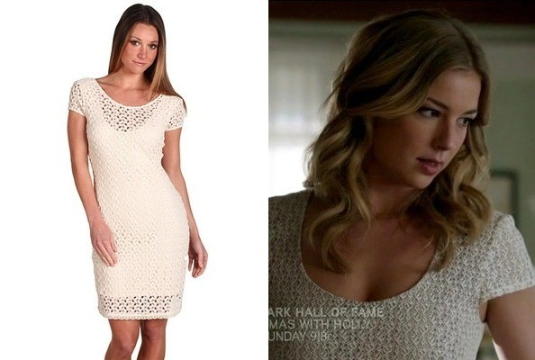 Emily VanCamp's Cream Bodycon Dress on 'Revenge'
