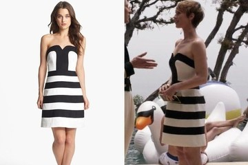 Karine Vanasse's Striped Black-and-White Cocktail Dress on 'Revenge'