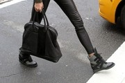 Look of the Day: Karolina Kurkova's High-Fashion Hidden-Wedge-Heel Hi-Tops