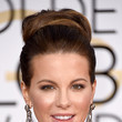 Kate Beckinsale's High-Volume Bun and Glossy Lip