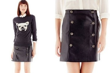 StyleBistro (Sale) STUFF: Faux Leather Button-Pleat Skirt