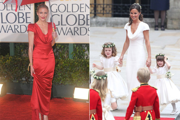Cameron Diaz and Pippa Middleton in Alexander McQueen