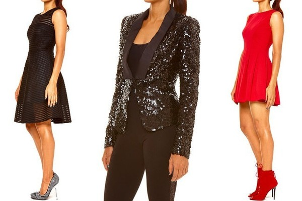 Left to right: Tamar Collection Striped Shadow Dress, $79, and Studded Black Pump, $69;Black Sequined Blazer, $119; Pleated Tulip Dress, $60, and Red Lace-Up Bootie, $79