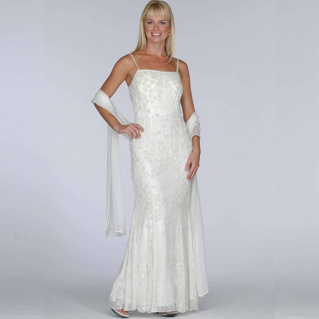 Sears Ivory Beaded Evening Dress