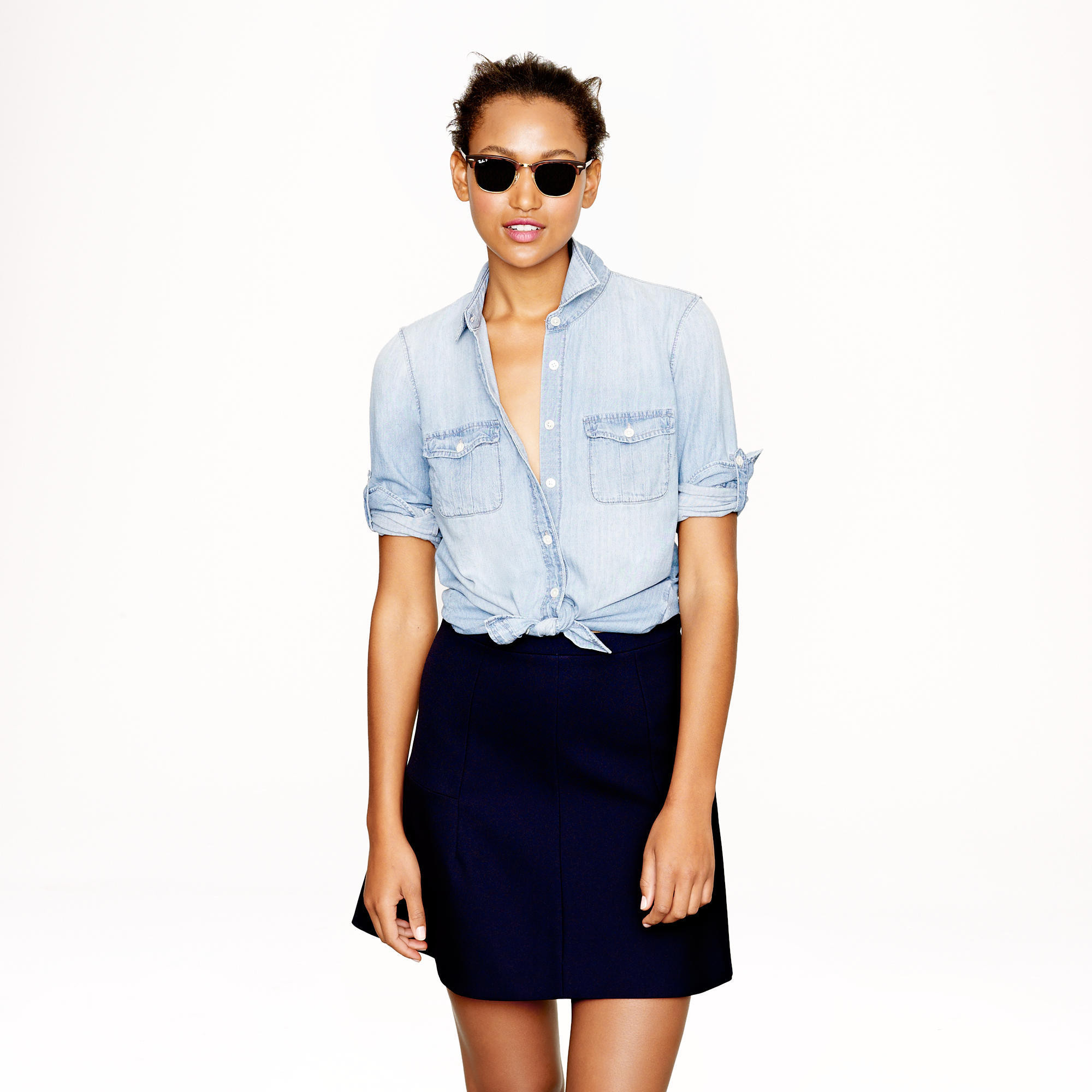 J.Crew Keeper Chambray Shirt in Afternoon Sky, $78, at J.Crew (Source: J.Crew)