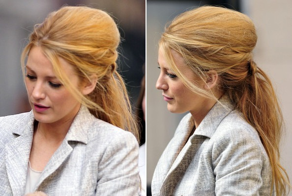 Blake Lively's Big, Messy Bouffant + Ponytail