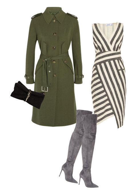 Altuzarra Jessica Blanket-Striped Dress, $1,169, at matchesfashion.com; Michael Kors Wool-Gabardine Trench Coat, $3,295, at net-a-porter.com; Gianvito Rossi Suede Cuissard Boots, $2,195, at Barney's; D2 Babe Wire Clutch, $725, at dsquared2.com