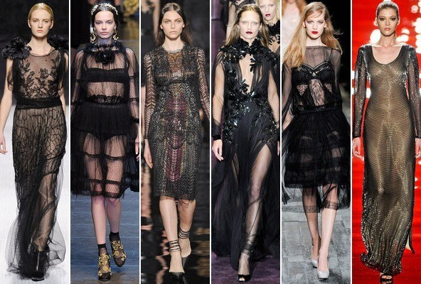 Sheer Black Eveningwear