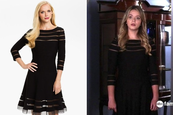 Sasha Pieterses Black Dress With Mesh Cutouts On Pretty Little