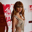 Close-Up of Taylor Swift in a Sheer Paneled Dress at the MTV EMAs