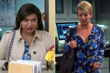 Seeing Double: Mindy Kaling and Kaley Cuoco-Sweeting Flaunt the Same Floral-Print Blouse