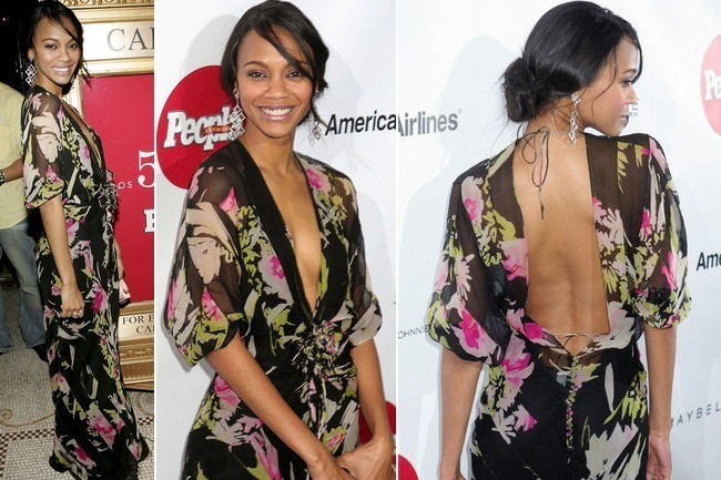 #TBT: Zoe Saldana's Floral Backless Plunge