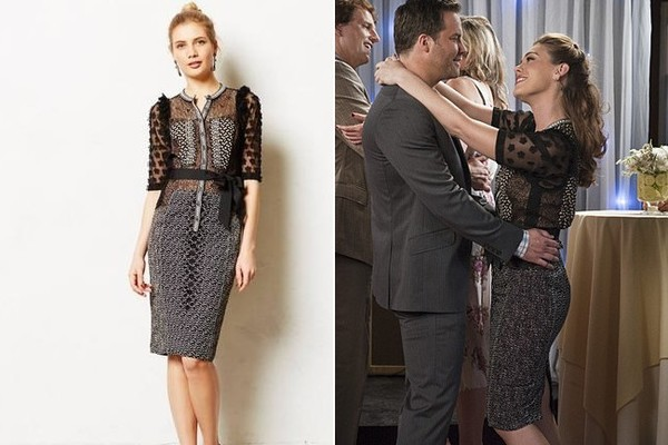 Kaitlyn Black's Black Printed Dress with Floral Applique Sleeves on 'Hart of Dixie'