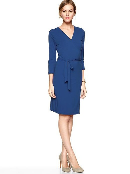 A Pretty Blue Wrap Dress—Great For a Dinner Party