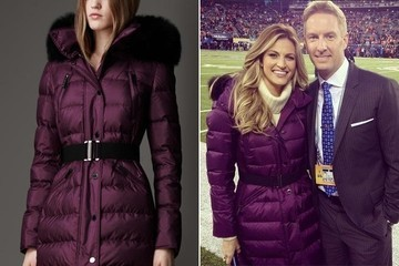 Erin Andrews's Purple Puffer Coat at Super Bowl XLVIII