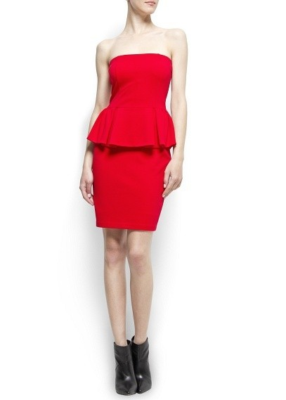 A Trendy Peplum Strapless Dress