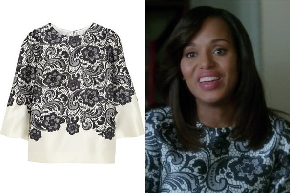 Kerry Washington's Black and White Lace-Print Blouse on 'Scandal'