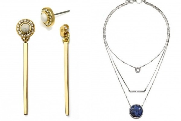 DNxCapwell Gold Radical Allure Ear Jackets, $36; and Silver On the Horizon Layered Necklace, $54; both at capwell.co