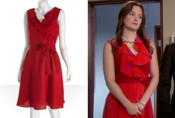 Leighton Meester's Red Ruffled Dress on 'Gossip Girl'