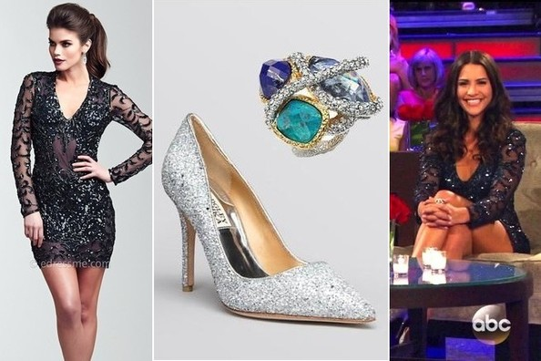 Andi Dorfman's Black Sequined Dress, Silver Sparkling Pumps and Gemstone Cocktail Ring on 'The Bachelorette: Men Tell All'