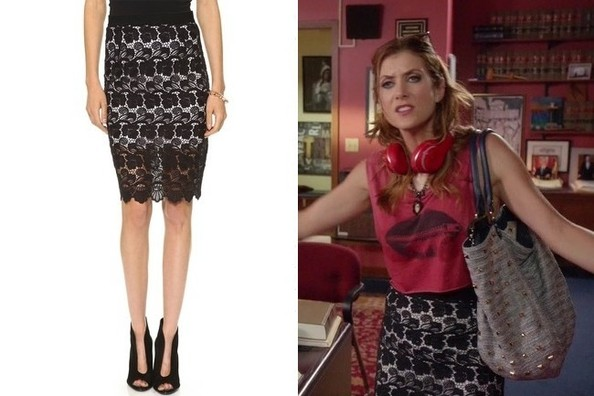 Kate Walsh's Black Lace Pencil Skirt on 'Bad Judge'