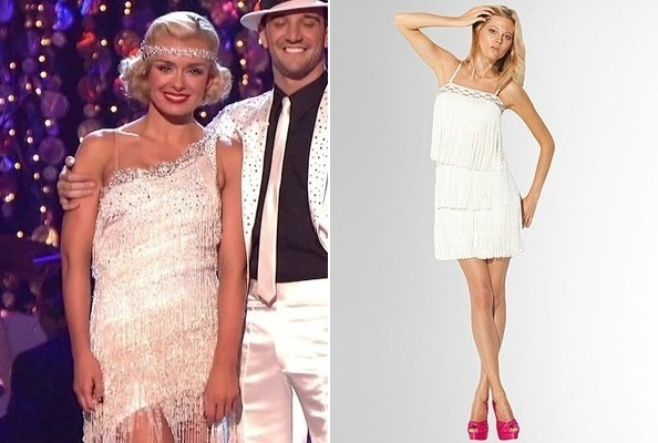 Katherine Jenkins White Fringe Dress On Dancing With The Stars