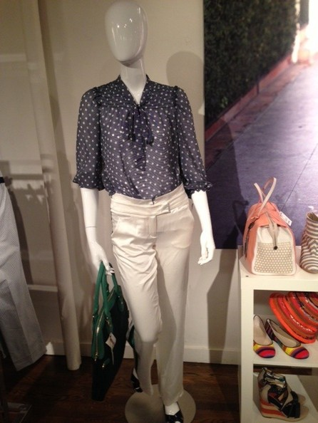 Spotted Blouse and White Pants