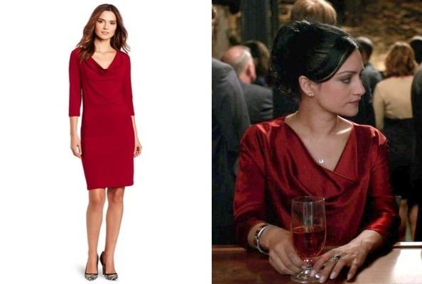 Archie Panjabi's Red Cowl Neck Dress on 'The Good Wife'